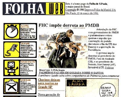 Folha Web em 1995